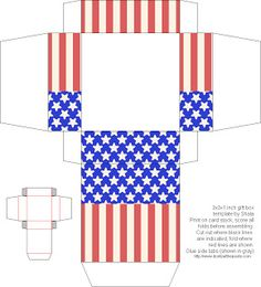 Patriotic printable template for a 3x3 in. gift box. Clever idea to use as tablescape favors  or gifts. Fill with 'Snaps' for kids, U.S. flag pin or other July 4th jewelry, candy, trinkets, etc. Also, tuck a note inside with a historical fact about America's birthday to share when opened.  Search internet for instructions: July 4th printable boxes and paper Don't Eat The Paste .