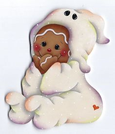Paint as pink or Blur PJ's (this one is a ghost costume) Gingerbread Ornaments, Gingerbread Decorations, Christmas Gingerbread, Wood Ornaments, Christmas Art, Christmas Ornaments, Ghost Halloween Costume, Halloween Painting, Fall Halloween