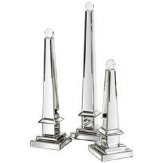 Howard Elliott Mirrored Obelisk with Glass Ball - Large 99091