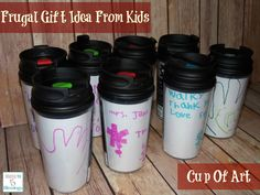 Cup of Art! Teacher Thank you gift made by kids - only cost $1.00 each to make! http://mamato5blessings.com/2014/05/thankyougift/