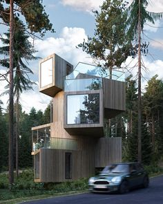 The Qiyun Mountain Tree House designed by Bengo Studio. Visualization by Irina Pravko Tools used: The Qiyun Mountain Tree House designed by Bengo Studio. Visualization by Irina Pravko Tools used: Autodesk Max Vray Xiuing Shed Cabin, Cabin Plans, Amazing Architecture, Contemporary Architecture, Tree House Designs, Architecture Visualization, Wood Plans, House In The Woods, Woodworking Plans
