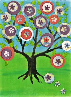 BLooming tree of life Mexican folk art style Original by icColors, $93.00