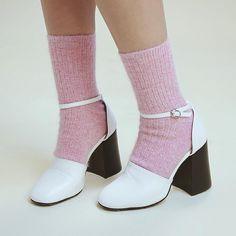 """My favorite shoe and sock combo ✨ MASSIVE FASHION HAUL on YouTube today!  Shoes + socks: @stylenanda_korea"""
