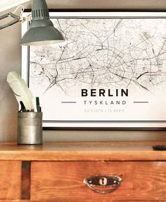 Map poster of Berlin, Germany. Print size 50 x 70 cm. Custom black and white map posters online. Mapiful.com