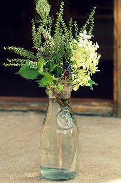 Wild flowers bouquet with garden hydrangea