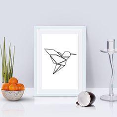 Hummingbird Print, Hummingbird Origami Style, Art Printables, Printable Art, Hummingbird Wall Art, Geometric Animals, Colibri, Nursery, Bird by KristinaDesignArt on Etsy