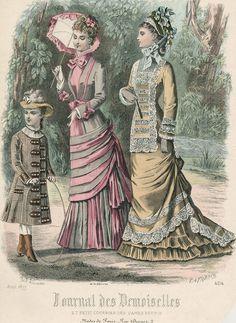 Victorian fashion plate. France, August 1877, Journal des Demoiselles et Petit Courrier des Dames Réunis