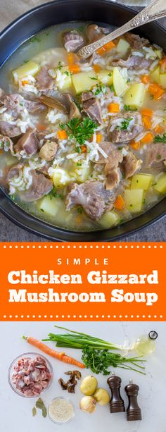 A comforting and easy to make chicken gizzard mushroom soup; this soup is easy to make and is delicious. It is comforting and easy to make, perfect for busy fall days. This soup is filled with rich and hearty flavors, perfect for any day. This soup is perfect to enjoy on a cold day. #chickengizzardssoup #chickensoup