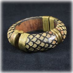 Vintage Carved Wood Bangle Bracelet Brass by JunkboxTreasures, $21.00