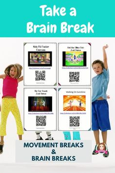 Gross Motor, Dance or Just for fun 50 Brain Breaks Song and Dance Cards with QR codes allow flexible use from individual to whole class. All In SafeShare, popular Brain Break Dances/Songs enabling a range of uses in the classroom: Individual Brain Break,  Small Group Brain Break ; Whole Class Brain Break on ActivBoard ). #brain #break #brainbreaks #tpt #sarahanne #dance #movement #breaks #chicka #boom #sarahannescreativeclassroom #movementbreaks #lessontransitions