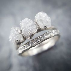 Raw rough conflict free diamonds in recycled white gold #sayyes #ido #ringgoals