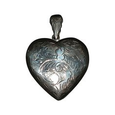 Large, Vintage Puffy Heart Locket in Sterling Silver, Etched