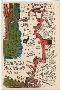 """Kurt Schmidt, """"Bauhaus Ausstellung Weimar Juli–Sept, 1923, Karte 19"""" (1923), lithograph, 5 7/8 × 3 15/16 inches"""