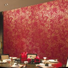 Gold Foil Wallpaper 3D Stereo Red Peony Flower Wallpaper Luxury Classic Modern Chinese Papel De Parede Wall Paper Home Decor