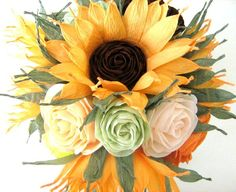 SUNFLOWER roses in pots Weddings rustik  baby shower decor SUNFLOWER Table decoration birtday party decorations paper Prom Flowers rustik