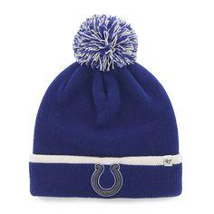 Indianapolis Colts 47 Brand Blue White Baraka Knit Cuff Poofball Beanie Hat  Cap c6e016b24
