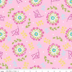 """1/2 Yard - Riley Blake Designs """"Floriography"""" Laminate by Pink Fig by Chelsea Andersen, Pink Floral by RainyDayJayne on Etsy"""