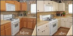 Kitchen Makeover- pretty creamy white color & used a Ralph Lauren glaze over them.