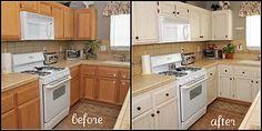 Kitchen Makeover- pretty creamy white color & used a Ralph Lauren glaze over them.