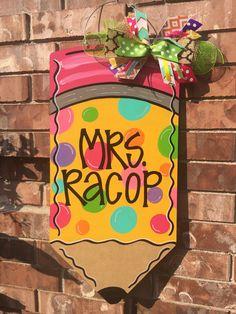 Teacher Door Hanger, Pencil Door Hanger, Back to school door hanger, teacher decor, classroom decor, classroom door hanger, pencil wreath by CrazyArtTeacherLady on Etsy