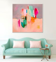 "GICLEE PRINT, Abstract Painting, Acrylic Painting, Fine Art Print, Wall Art, hot pink, aqua, from original acrylic painting ""Awakenings #4"""