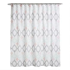 Featuring terracotta and jadeite geometric designs and a black hand-clipped diamond pattern, our jacquard shower curtain livens up any bathroom setting. World Market Shower Curtain, Curtain World, Shower Curtain Rings, Bathroom Shower Curtains, World Market Store, Shower Accessories, Bath Decor, Geometric Designs, Diamond Pattern