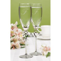 Personalized Wedding Flutes Champagne Entwined by MemorableWedding