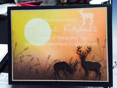 Deerland stamping, in colors, brayers cards, Stampin up, Laurie Krauss