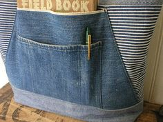 SALE Indigo stripe denim bag, selvedge denim zipper top - eco vintage fabrics on Etsy, $128.00 - Only image, from Etsy, may disappear...
