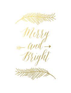 Holiday Gold Foil Art Christmas Gold Foil Print by sweetpeaink