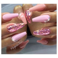 Pink glitter coffin nails by MargaritasNailz