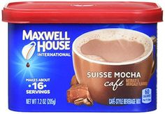 Maxwell House International Coffee Suisse Mocha Cafe, Cans (Pack of Maxwell House International Cafe Suisse Mocha Flavored Cafe-Style Beverage Mix.brAlso great as a calories per 1 tbsp. Coffee Table Base, Coffee K Cups, Coffee Pods, Coffee Drinks, Cafe Du Monde Coffee, Gevalia Coffee, Maxwell House Coffee, Wholesale Coffee, Caffeine Free Tea