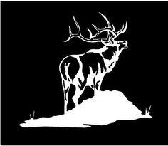 Vinyl Decal Elk on Mountain hunt hunting fun country bumper sticker car truck laptop Hirsch Silhouette, Elk Silhouette, Scroll Saw Patterns, Wood Patterns, Elk Tattoo, Glass Etching Stencils, Bull Elk, Car Bumper Stickers, White Vinyl