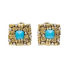 """Alex Sepkus """"Little Creatures"""" Turquoise Earrings with Diamond"""