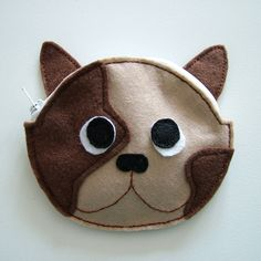 SALE - Brown French Bulldog Felt Novelty Purse