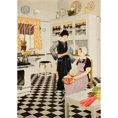 Home Suggestions 1921 Lady in kitchen Canvas Art - Arthur Sinclair Covey (18 x 24)