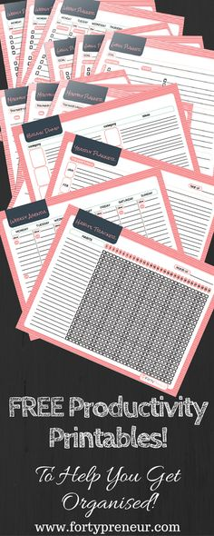 FREE Productivity Planners Printables, For All Those Procrastinators! Yours to…