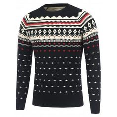 Geometric Pattern Crew Neck Sweater  Fashion  Mens  Men  Black Cheap Trendy  Clothes 7c658f01a