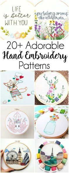 20+ Adorable Hand Embroidery Patterns: If you love hand embroidery then you won't want to miss this collection of adorable patterns. Click through for the full list of patterns.| http://www.sewwhatalicia.com