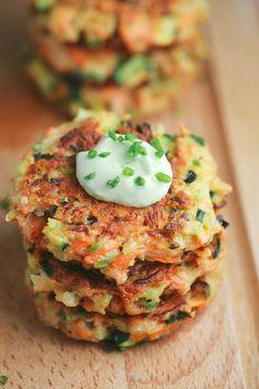 Crispy Vegetable Fritters with Avocado Yogurt Sauce