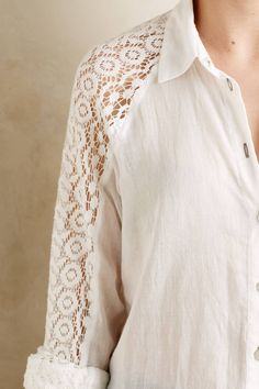 Lace-Sleeve Buttondown by Holding Horses #anthrofave #anthropologie