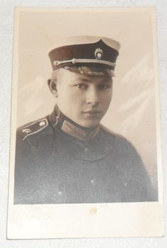 Young Latvian Soldier in Hat with Badge Real Photo Postcard Latvia Riga Riga, Photo Postcards, 1930s, Badge, Captain Hat, History, Hats, People, Soldiers