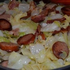 Cabbage and noodles is one of my all time favorite comfort foods. The addition of keilbasa (or smoked sausage) makes this a meal. Warning: once you start eating it ... it's hard to stop!! #comfortfood #cabbagerecipes