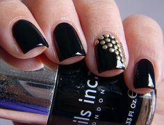 nail ideas. gold dots. geometric