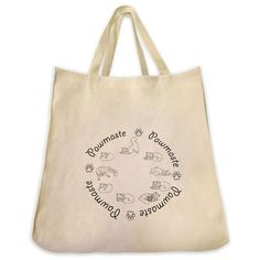 Yoga Cats Pawmaste Mantra Circle Outline Design Extra Large Eco Friendly Reusable Cotton Canvas Tote Bag