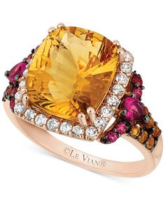 Le Vian White Topaz and Rhodolite Garnet Ring (5-1/5 ct. t.w.) in 14k Rose Gold - Le Vian Shop - Jewelry & Watches - Macy's