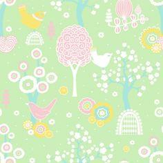 Design Tapete \'Zauberwald\' grün/rosa/gelb