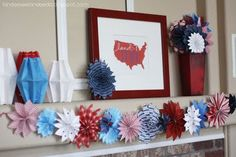 Love these paper fireworks! As a banner, or put on sticks in a vase as a centerpiece.