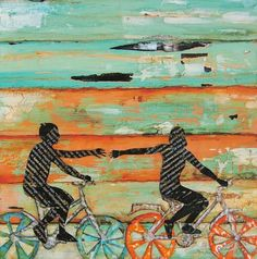 The Chase/ Bicycle Play (romance) at Beach - Fine Art Print 5x7 from dannyphillipsart etsy shop
