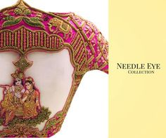 Such intricate designs created by Needle Eye designers are always a bliss. Beautiful pink color designer blouse with 3D Radha Kridhna design hand embroidery thread work. 30 August 2017